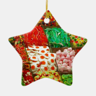 Multicolored-jellies-on-shelfs COLORFUL GUMMY CAND Double-Sided Star Ceramic Christmas Ornament