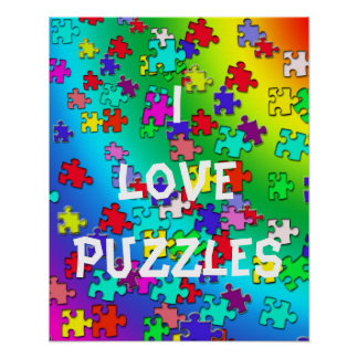 Multicolored jigsaw puzzles pieces poster