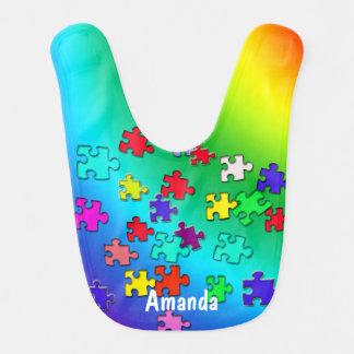 Multicolored jigsaw puzzles pieces bib