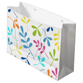 Multicolored Large Assorted Leaves Design Large Gift Bag