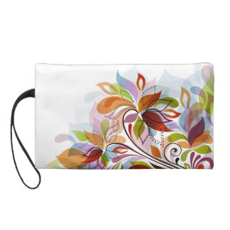 Multicolored Leaves Abstract Wristlet Clutches
