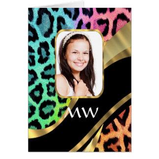 Multicolored leopard print card