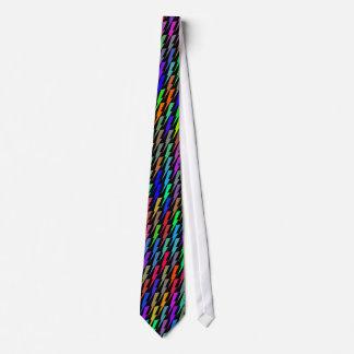 Multicolored Lightning Bolts on Black Necktie