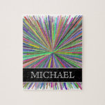 [ Thumbnail: Multicolored Line Burst Pattern + Custom Name Jigsaw Puzzle ]