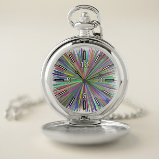 Multicolored Line Burst Pattern Pocket Watch