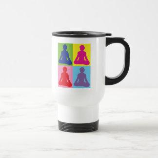 Multicolored Lotus Pose Yoga 15 Oz Stainless Steel Travel Mug