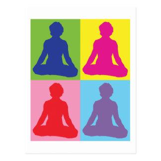 Multicolored Lotus Pose Yoga Postcards