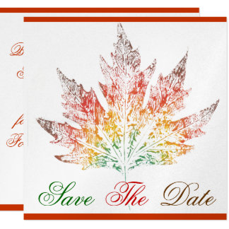 Multicolored Maple Leaf Save The Date Announcement