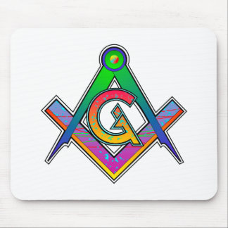 Multicolored Masonic Square & Compass Mouse Pads