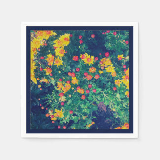Multicolored meadow whimsical wild daisy flowers napkin