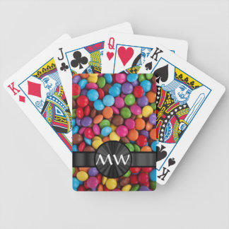 Multicolored mnogrammed candies bicycle playing cards