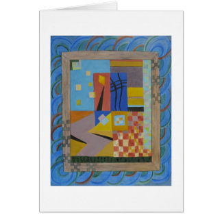 Multicolored modern blue abstract art greeting cards