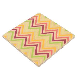 Multicolored Modern Chevron Wooded Coaster Maple Wood Coaster
