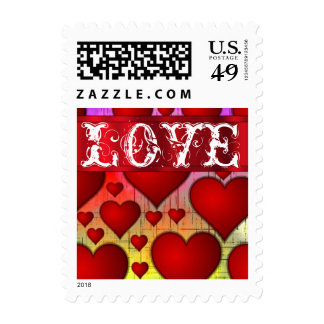 Multicolored modern love heart postage