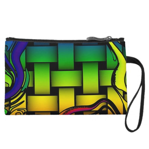 Multicolored modern woven pattern wristlet clutches