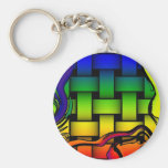 Multicolored modern woven pattern key chains