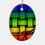 Multicolored modern woven pattern christmas tree ornaments