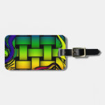 Multicolored modern woven pattern travel bag tag
