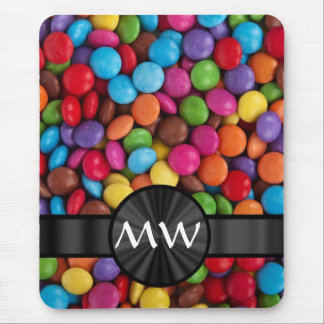 Multicolored monogrammed candies mouse pad