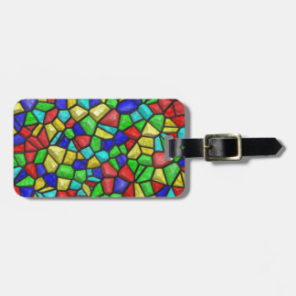 Multicolored Mosaic Design. Stained Glass Pattern Bag Tag