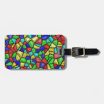 Multicolored Mosaic Design. Stained Glass Pattern Tag For Luggage