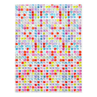 Multicolored Mosaic Rhinestones Bling Chic Postcard