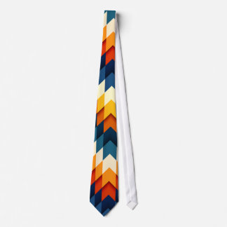 Multicolored Orange and Blue Patterned Neck Tie