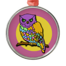 Multicolored Owl in Purple and Yellow Metal Ornament