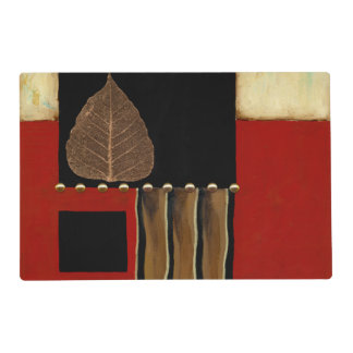 Multicolored Panel Painting with Brown Leaf Placemat