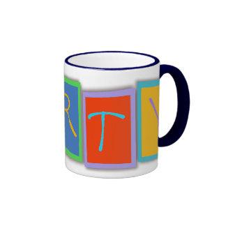 Multicolored PARTY block text Drinkware Ringer Mug