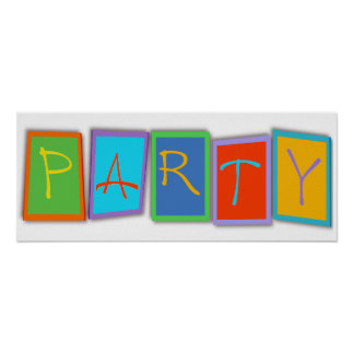 Multicolored PARTY block text Poster