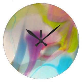 Multicolored pastel blown glass large clock