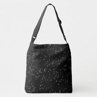 Multicolored pastel stars / black background crossbody bag
