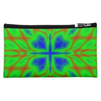 Multicolored Pattern blue green Makeup Bag