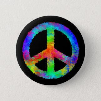 Multicolored Peace Sign Button