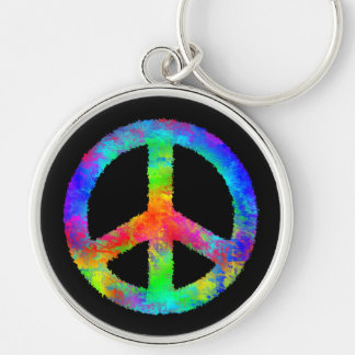 Multicolored Peace Sign Keychain