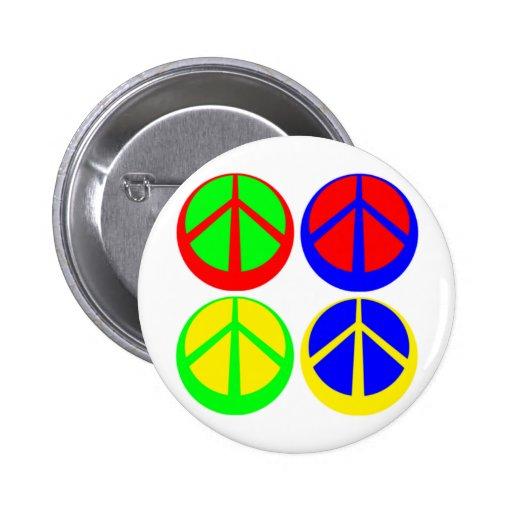 Multicolored Peace Signs Button