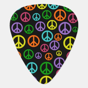 Multicolored Peace Signs Guitar Pick by ourartetc at Zazzle