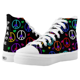 Multicolored Peace Signs High-Top Sneakers