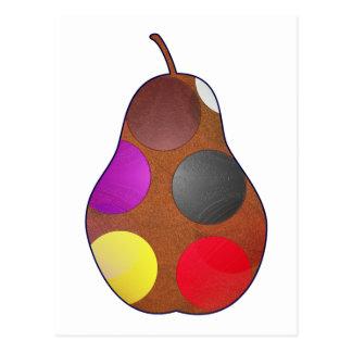 Multicolored pear postcard