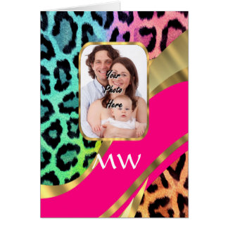 Multicolored pink leopard print card