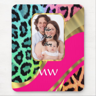 Multicolored pink leopard print mouse pad