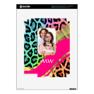 Multicolored pink leopard print skin for iPad 3
