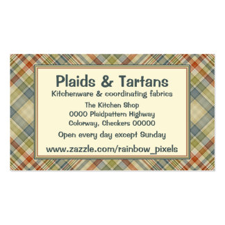 Multicolored plaid pattern business card
