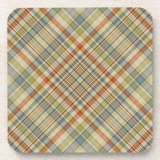Multicolored plaid pattern drink coasters