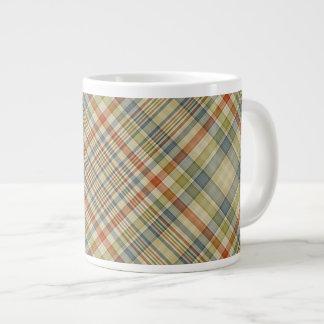 Multicolored plaid pattern large coffee mug