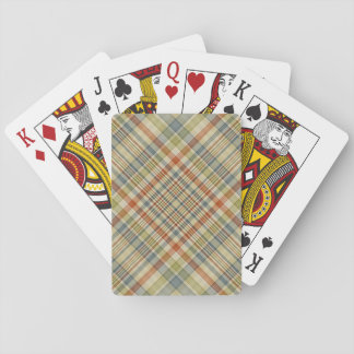 Multicolored plaid pattern playing cards