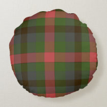 Multicolored Plaid Round Pillow