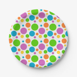 Multicolored Polka Dot Pattern Paper Plate  sc 1 st  Zazzle & Multicolor Polka Dots Plates | Zazzle