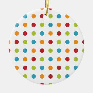 Multicolored Polka Dots Ceramic Ornament